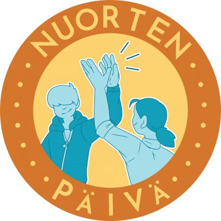 """Nuorten päivän logossa kaksi nuorta läpsäyttävät käsiä yhteen tekemällä """"ylävitoset""""."""